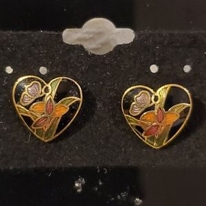 Jewelry - 2/$20 Vintage Heart & Butterfly Cloissone Earrings